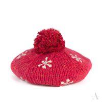 Czerwona melanżowa czapka damska beret z haftowanymi gwiazdkami i dżetami