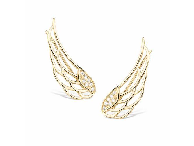 8266a768807f6e Eleganckie pozłacane srebrne kolczyki nausznice skrzydła skrzydełka z  cyrkoniami srebro 925 Z1438E_G zdjęcie 1