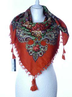 Szal chusta apaszka z frędzlami kwiaty ludowa duża
