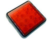 mocna Lampa 16 LED 12x12 cm czerwona 2 włókna stop + pozycja 12v 24v