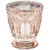 róż złoty ŚWIECZNIK szklany TEALIGHT lustrzany x4