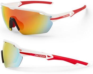 Okulary ACCENT Reflex biało-czerwone, soczewki PC: czerwone lustrzane, przezroczyste
