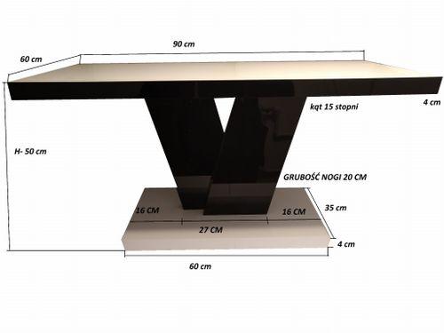Stolik kawowy w wysokim połysku 90-60cm Szaro - biały połysk na Arena.pl