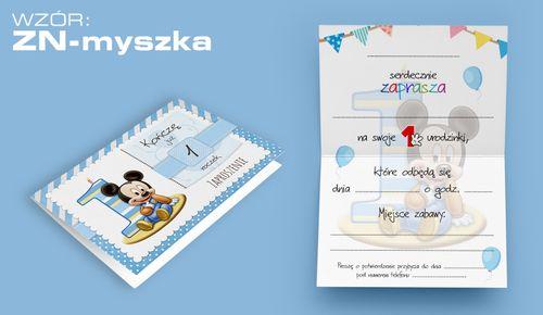 Zaproszenia na PIERWSZE URODZINY roczek dziecka +koperta (ZN-myszka) na Arena.pl