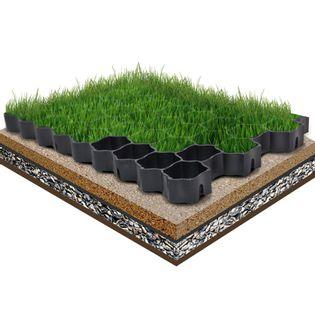 Lumarko Kratki trawnikowe, 16 szt., czarne, 60x40x3 cm, plastik
