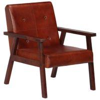 Fotel, Brązowy, 61X70X74 Cm, Prawdziwa Skóra