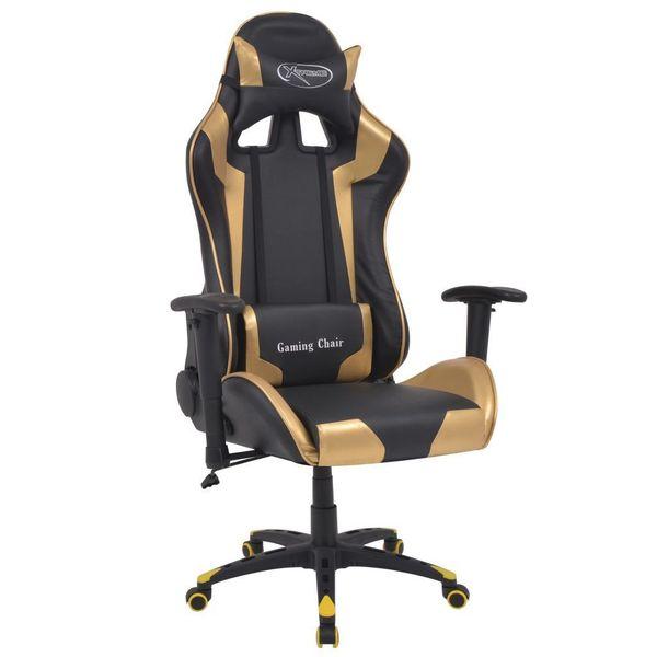 Rozkładane Krzesło Biurowe, Sportowe, Sztuczna Skóra, Złote zdjęcie 1