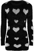 Czarny Sweter w Serca Fluffy - 56 / 8XL
