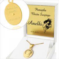 Piękny Srebrny 925 medalik Chrzest Komunia GRAWER