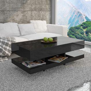 Stolik kawowy do salonu pokoju 90cm czarny połysk MD-0030