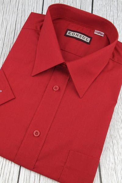 Koszula Męska Konsul gładka czerwona w kroju REGULAR na  RFvO7