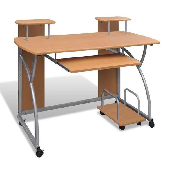 Biurko Komputerowe Drewniane Z Półkami Pod Komputer Na Kółkach