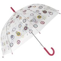 Przezroczysta, głęboka parasolka Perletti w kolorowe kółeczka
