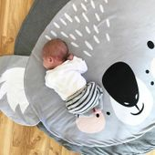 Mata dla dziecka okrągła szara koala 90cm iko