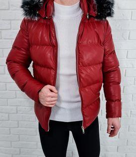 Czerwona ocieplana kurtka zimowa meska kaptur - S