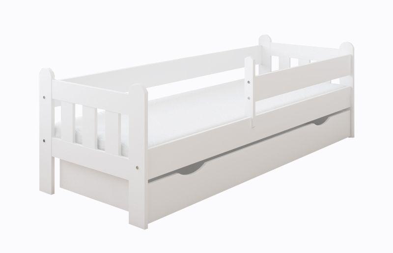 Łóżko STAŚ 140 x 70 z szufladą + barierka ochronna + MATERAC GRATIS zdjęcie 1