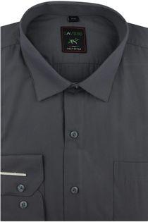 Koszula Męska Laviino gładka grafitowa na długi rękaw w kroju REGULAR A178 L 40 176/182
