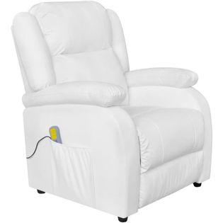 Fotel Masujący Z Eko-Skóry, Elektryczny, Regulowany, Biały