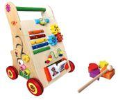 Drewniany chodzik jeździk pchacz wózek LX008