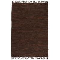 Ręcznie tkany dywanik Chindi, skóra, 120x170 cm, brązowy