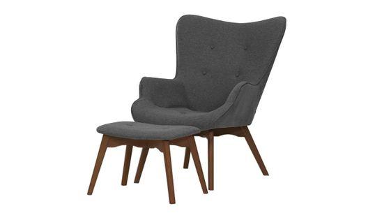 Fotel uszak z podnóżkiem Ducon Malmo-Malmo 95-ciemny dąb