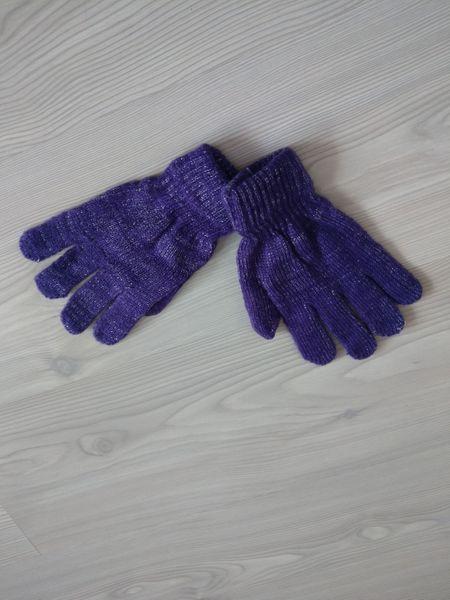 1 Kiddy rękawiczki 5-palczaste dziewczęce fioletowe ze srebrną nitką zdjęcie 2