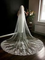 welon ślubny długi katedralny koronka biały ivory