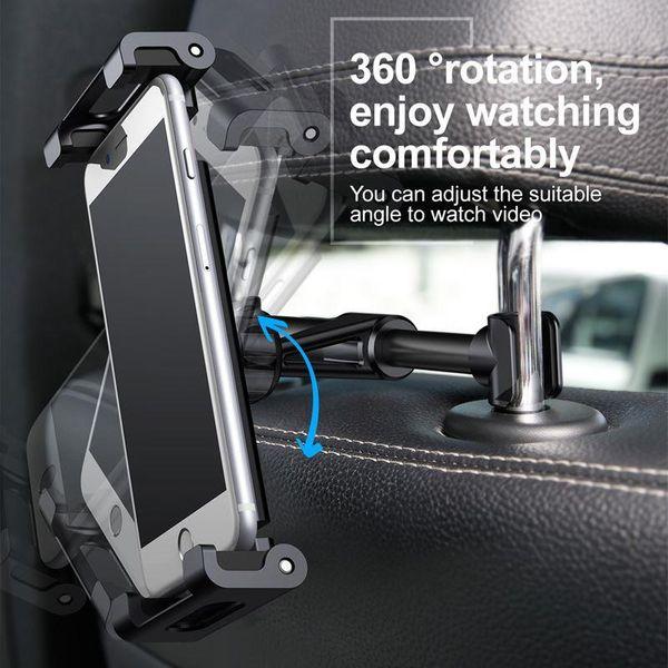 Uchwyt na zagłówek Baseus Backseat dla tabletów i smartfonów (srebrny) zdjęcie 6