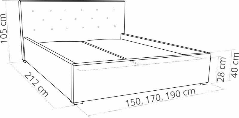 Łóżko do sypialni tapicerowane 160x200 BIRD Star zdjęcie 3