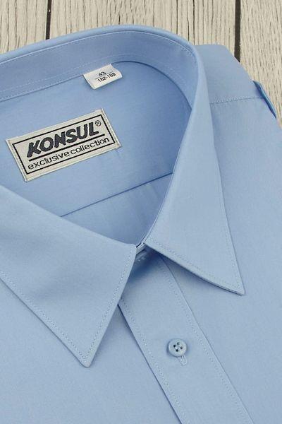 Koszula Męska Konsul gładka niebieska z pagonami w kroju REGULAR na krótki rękaw K957 XXL 44 176/182 zdjęcie 2