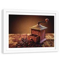 Obraz w ramie białej, Młynek do kawy 120x80