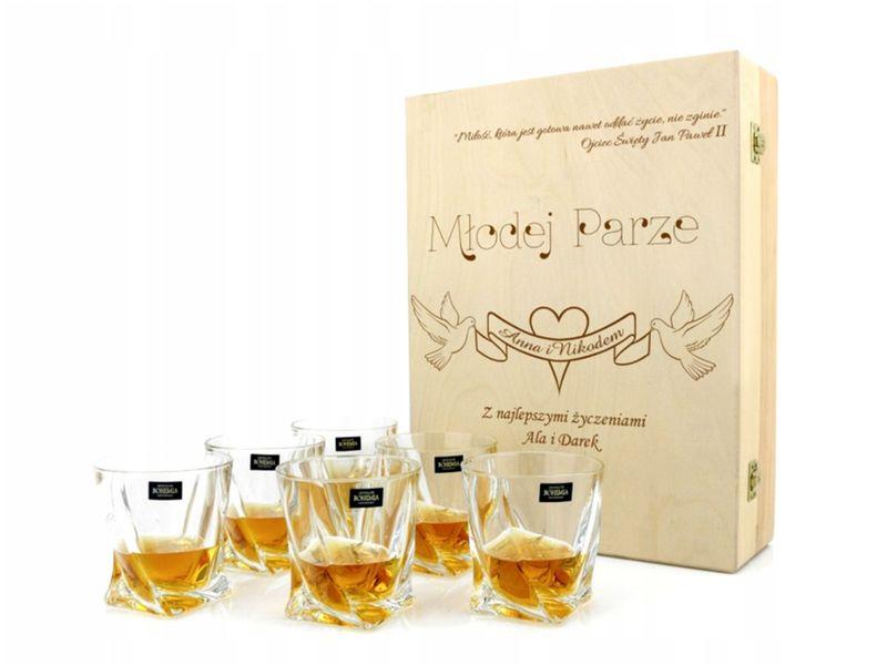 Zestaw 6 szklanek do whisky na PREZENT ŚLUB WESELE zdjęcie 1