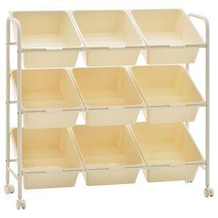 Regał na kółkach z 9 szufladami na zabawki biały plastikowy VidaXL