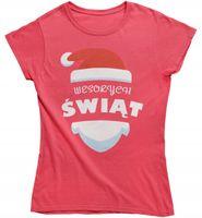 Koszulka damska Wesołych świąt prezent choinka