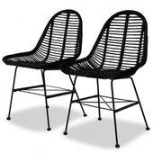 Krzesła do jadalni, 2 szt., naturalny rattan, czarne
