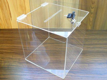 Urna skarbonka puszka skrzynka z plexi 25x25x25cm