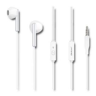 Qoltec Słuchawki douszne z mikrofonem | Białe