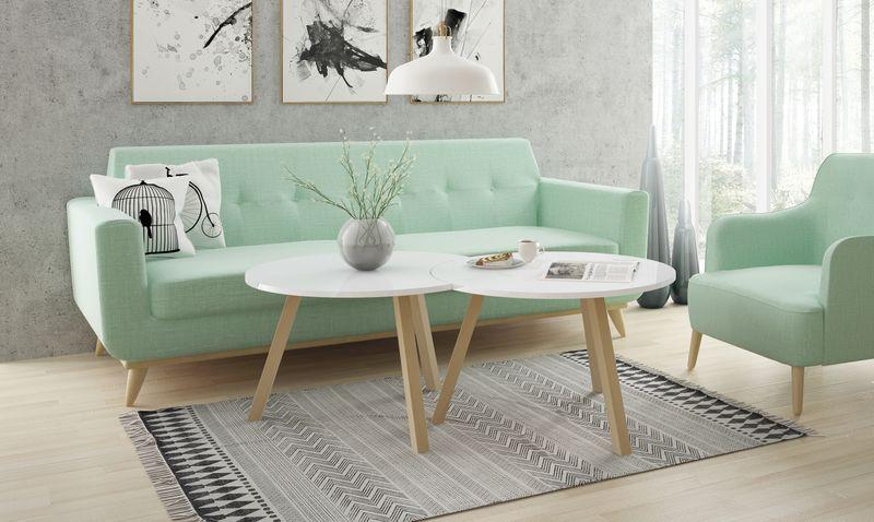 Skandynawski stolik kawowy KOPPLA, biały, ława zdjęcie 3
