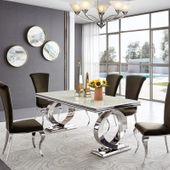 Stół glamour Buffalo - blat kamienny - 220 x 100 x 75; stal polerowana