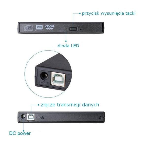 NAGRYWARKA NAPĘD ZEWNĘTRZNY USB PRZENOŚNY CD DVD zdjęcie 3