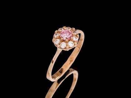 P483 Złoty pierścionek z cyrkoniami / różowy 585