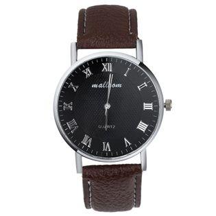 Zegarek męski lub damski Mallom z paskiem, czarny i brązowy