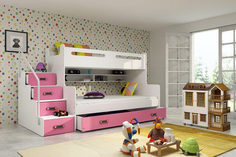 łóżko 3 Osobowe Dziecięce Max 3 Dla Dzieci 200x120 Piętrowe Stelaż