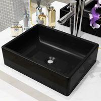 Umywalka ceramiczna, prostokątna, 41x30x12 cm, czarna