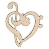 AD397 Dekor serce z kluczem wiolinowym