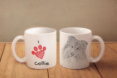 """Owczarek szkocki - kubek z wizerunkiem psa i napisem """"I love..."""". Wysokiej jakości kubek ceramiczny."""
