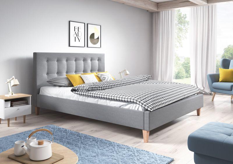 Nowoczesne łóżko Tapicerowane Do Sypialni Styl Skandynawski