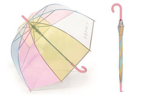 Głęboka parasolka Esprit przezroczysta - tęczowa z odblaskową lamówką