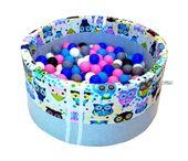 Suchy basen dla dzieci z piłeczkami - grube DNO - niebieskie sowy