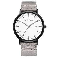 Męski zegarek GeekThink z datownikiem na szarym materiałowym pasku